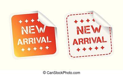chegada nova, stickers., vetorial, ilustração, branco, experiência.
