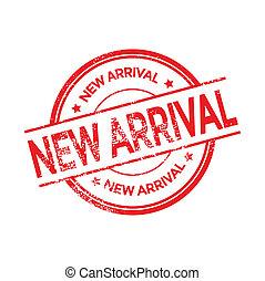 chegada, novo, vetorial, selo