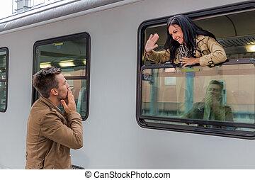 chegada, por, trem