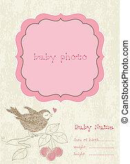 chegada, quadro fotografia, vetorial, menina bebê, cartão