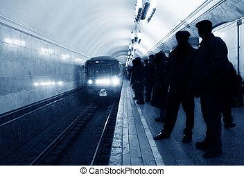 chegada, trem metrô