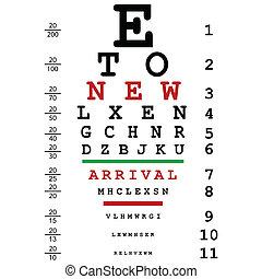 chegada, usado, olho, óptico, anunciando, doutores, teste, novo