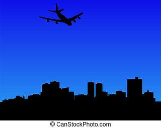 chegando, avião, valor, forte