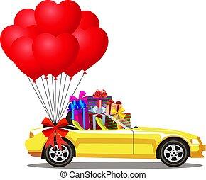 cheio, aberta, presente, car, modernos, amarela, caixas, cabriolé, balões, caricatura