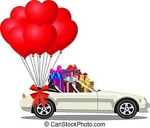 cheio, aberta, presente, car, modernos, caixas, branca, cabriolé, balões, caricatura