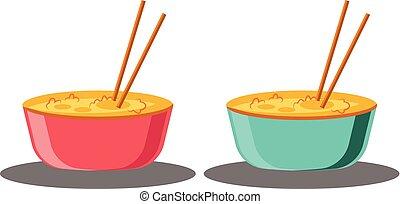 cheio, alimento chinês, dois, tigelas, vetorial, ilustração, fundo, ano, pronto, novo, branca