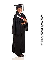 cheio, americano, graduado, comprimento, africano feminino