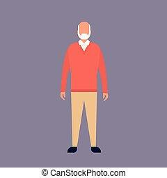 cheio, avô, comprimento, vovô, homem sênior