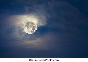 cheio, céu, nublado, lua