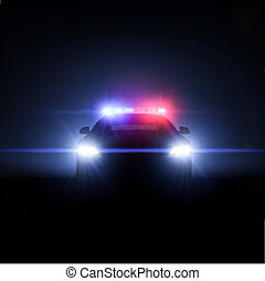 cheio, carro polícia, lights., ilustração, vetorial, matriz