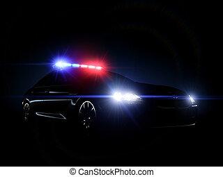 cheio, carro polícia, lights., tático, matriz