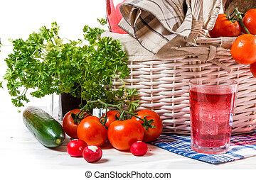 cheio, cesta, de, legumes frescos