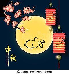 cheio, chinês, festival, meio, lua, outono, fundo