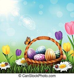 cheio, coloridos, ovos, saudação, cesta, capim, páscoa, flores, cartão