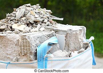 cheio, construção, desperdício, escombros, rubble, sacolas