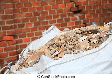 cheio, construção, desperdício, escombros, sacolas
