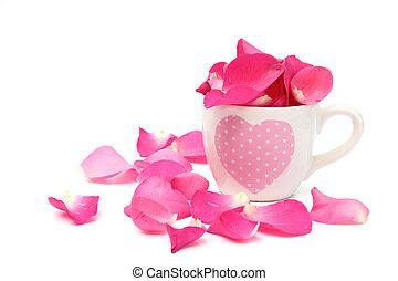 cheio, copo, pétalas rosa, fundo, branca