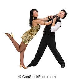 cheio, dançar., par, isolado, dançarino, length., fundo, branca, cabaré