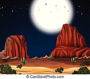 cheio, deserto, lua, noturna