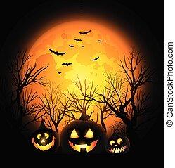 cheio, dia das bruxas, este prego, lua, vetorial, macaco, fundo, lanterna