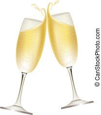 cheio, dois, óculos, champanhe
