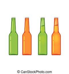 cheio, garrafas, isolado, cobrança, cerveja, vetorial, branca, vazio