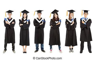 cheio, grupo, estudantes, jovem, graduado, comprimento, feliz