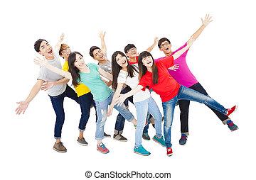 cheio, grupo, jovem, comprimento, estudante, feliz