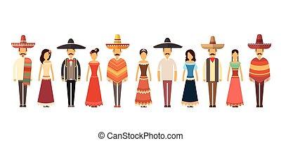 cheio, grupo, pessoas, tradicional, comprimento, desgaste, ...