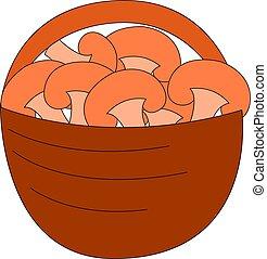 cheio, ilustração, cogumelos, experiência., vetorial, cesta, branca