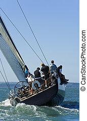 cheio, inclinação, velejando