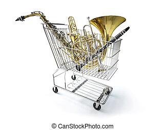 cheio, instruments., bonde supermercado, musical, vento