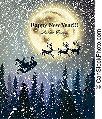 cheio, inverno, nevado, sobre, voando, feriados, vetorial, renas, cartão, fundo, moon., night., feliz