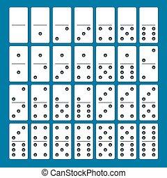 cheio, jogo, de, branca, dominoes, com, sombras, ligado, um, azul, experiência., completo, double-six, jogo