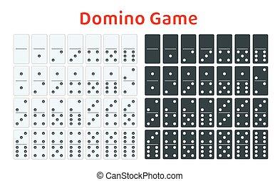 cheio, jogo, de, branca, e, pretas, dominoes, isolado, ligado, white., completo, double-six, set., apartamento, illustration.