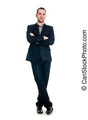 cheio, jovem, contra, comprimento, retrato, homem negócios