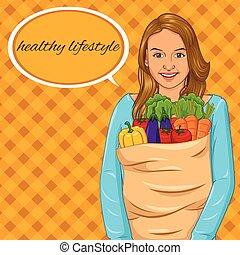 cheio, legumes, saco, papel, segurando, menina