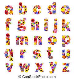 cheio, letras, alfabeto, -, isolado, floral, branca, z