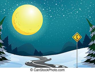 cheio, longo, lua, enrolamento, luminoso, sob, estrada