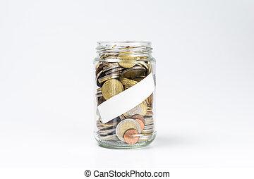 cheio, moedas, jarro, etiqueta, vidro, em branco, branca, euro