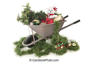 cheio, Natal, carrinho de mão