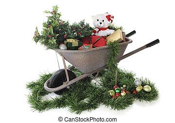 cheio, Natal, carrinho mão