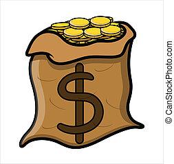 cheio, ouro, dinheiro, moedas, saco, vetorial