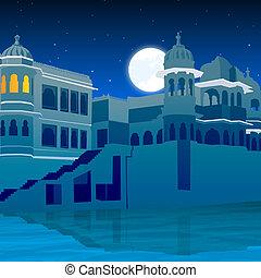 cheio, palácio, lua, lago, vista lateral