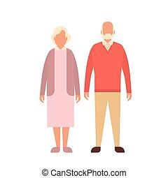 cheio, par, avô, vó, comprimento, mulher, homem sênior