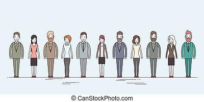 cheio, pessoas negócio, personagem, comprimento, jogo, ...