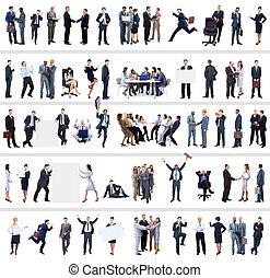cheio, pessoas negócio, retratos, cobrança, comprimento
