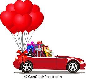 cheio, presente, cabriolé, car, caixas, balões, caricatura, vermelho, grupo