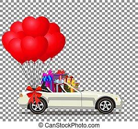 cheio, presente, cabriolé, car, caixas, branca, balões, caricatura