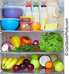 cheio, saudável, legumes, alimento., leiteria, frutas, produtos, refrigerador